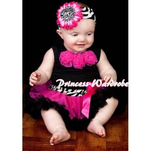 Black Newborn Pettitop & Hot Pink Rosettes with Zebra Waist Hot Pink Black Newborn Pettiskirt NG211