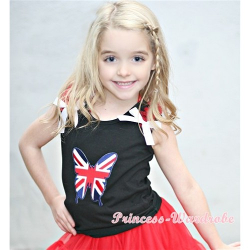 Patriotic British Flag Butterfly Print Black Tank Top with Red Ruffles &White Bows TB257