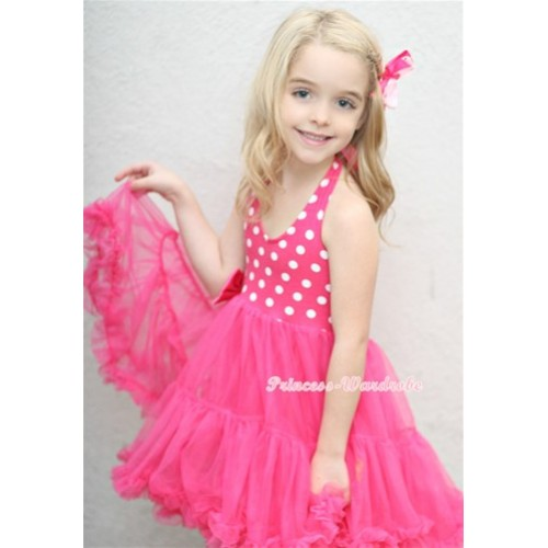 Hot Pink White Polka Dots with ONE-PIECE Petti Dress with Bow LP11