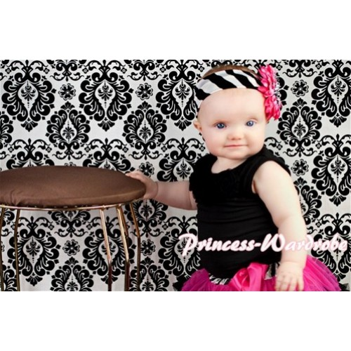 Black Baby Pettitop with Black Rosettes NT48