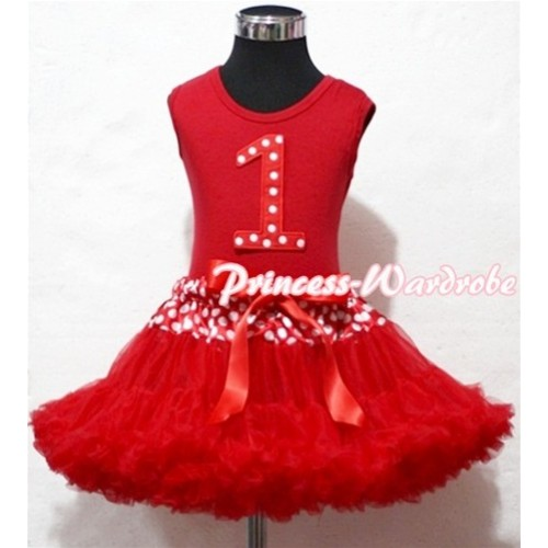 Red Tank Top & 1st Birthday Minnie Red White Dot Print number with Minnie Waist Red Full Pettiskirt MM83