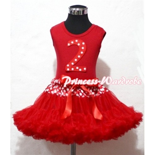 Red Tank Top & 2nd Birthday Minnie Red White Dot Print number with Minnie Waist Red Full Pettiskirt MM84