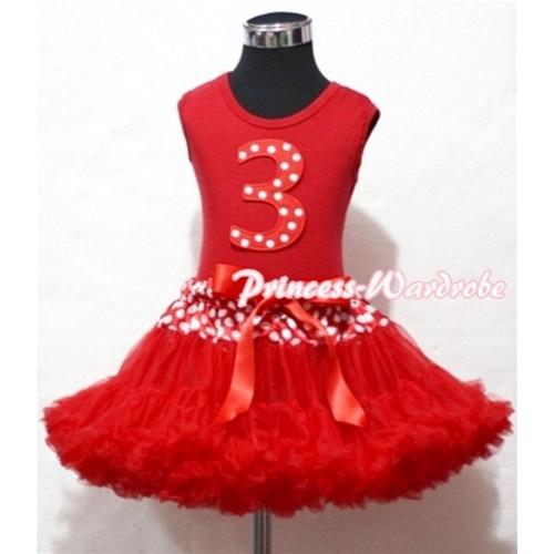Red Tank Top & 3rd Birthday Minnie Red White Dot Print number With Minnie Waist Red Full Pettiskirt MM85