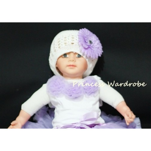 White Baby Pettitop with Light Purple Rosettes NT03