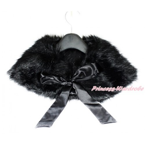 Black Ribbon with Black Soft Fur Stole Shawl Shrug Wrap Cape Wedding Flower Girl Shawl Coat SH50