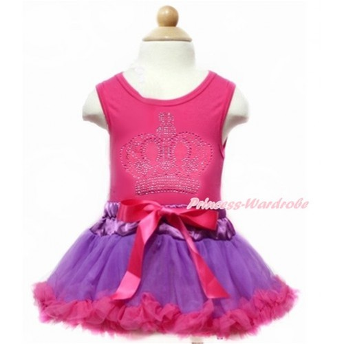 Hot Pink Baby Pettitop With Sparkle Crystal Bling Rhinestone Crown Print with Dark Purple Hot Pink Baby Pettiskirt NG1372