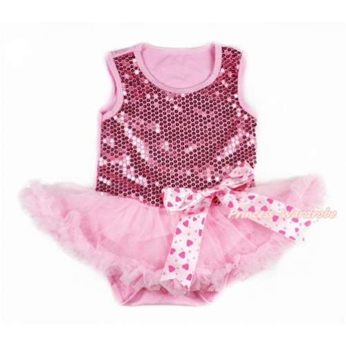 Valentine's Day Light Pink Sparkle Sequins Baby Bodysuit Jumpsuit Light Pink Pettiskirt & Light Hot Pink Heart Bow JS2769