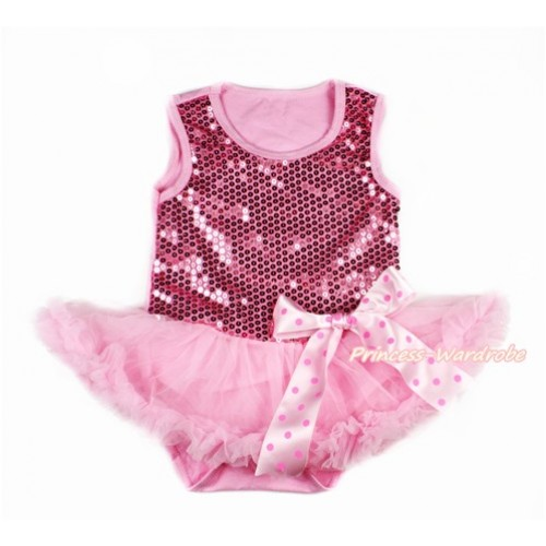 Valentine's Day Light Pink Sparkle Sequins Baby Bodysuit Jumpsuit Light Pink Pettiskirt & Light Hot Pink Dots Bow JS2770