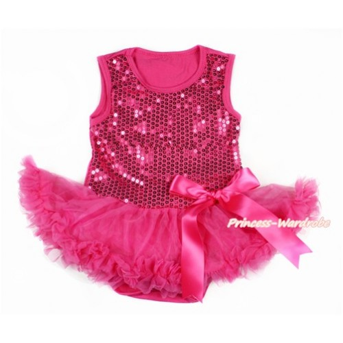 Valentine's Day Hot Pink Sparkle Sequins Baby Bodysuit Jumpsuit Hot Pink Pettiskirt & Hot Pink Bow JS2772