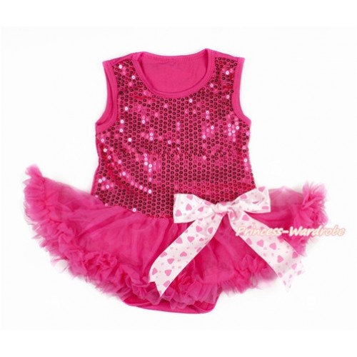 Valentine's Day Hot Pink Sparkle Sequins Baby Bodysuit Jumpsuit Hot Pink Pettiskirt & Light Hot Pink Heart Bow JS2773
