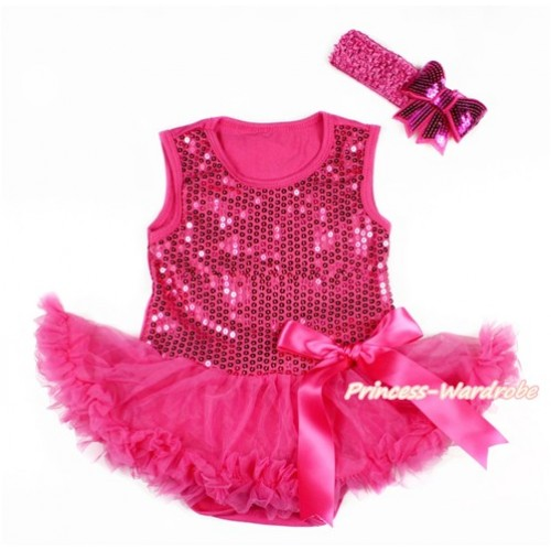 Valentine's Day Hot Pink Sparkle Sequins Baby Bodysuit Jumpsuit Hot Pink Pettiskirt & Hot Pink Bow With Hot Pink Headband Hot Pink Sparkle Sequins Bow JS2786