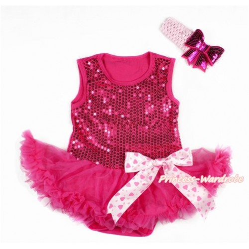 Valentine's Day Hot Pink Sparkle Sequins Baby Bodysuit Jumpsuit Hot Pink Pettiskirt & Light Hot Pink Heart Bow With Light Pink Headband Hot Pink Sparkle Sequins Bow JS2787