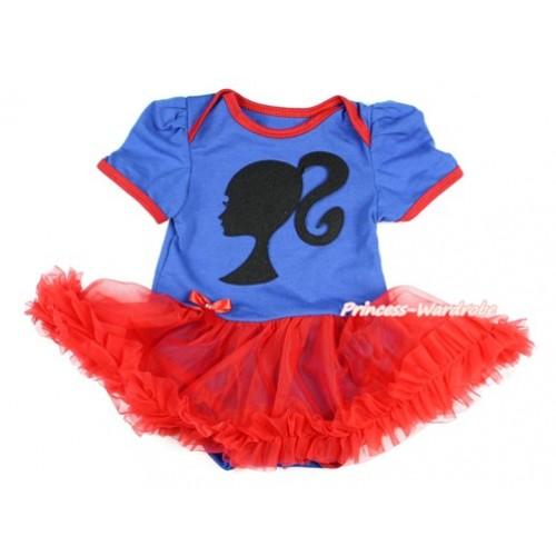 Royal Blue Baby Bodysuit Jumpsuit Red Pettiskirt with Barbie Princess Print JS2807