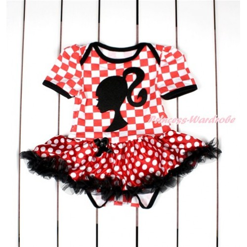 Red White Checked Baby Bodysuit Jumpsuit Minnie Dots Black Pettiskirt with Barbie Princess Print JS2811