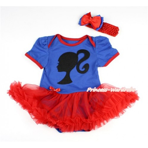 Royal Blue Baby Bodysuit Jumpsuit Red Pettiskirt With Barbie Princess Print With Red Headband Red Royal Blue Ribbon Bow JS2838