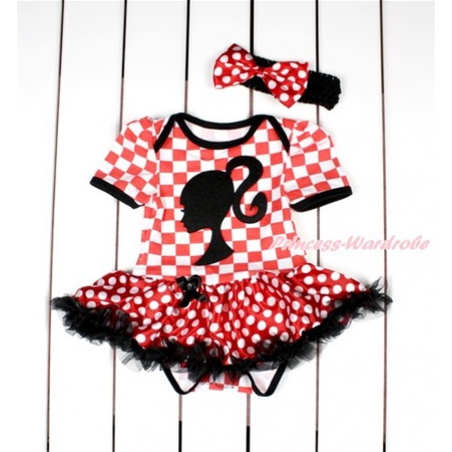 Red White Checked Baby Bodysuit Jumpsuit Minnie Dots Black Pettiskirt With Barbie Princess Print With Black Headband Minnie Dots Satin Bow JS2842