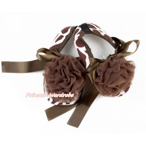 Giraffe Shoes with Brown Ribbon Crib Shoes With Brown Rosettes S629