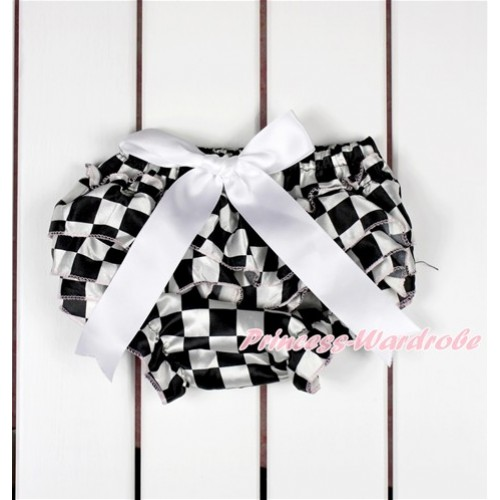 Black White Checked Satin Layer Panties Bloomers With White Bow BC186