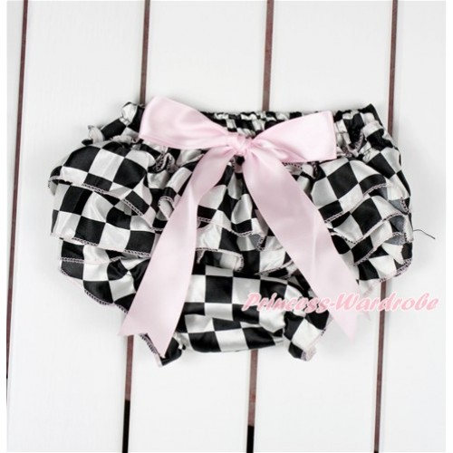 Black White Checked Satin Layer Panties Bloomers With Light Pink Bow BC187