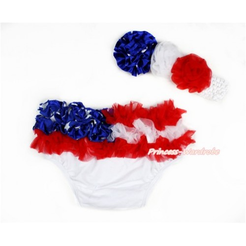 America Flag Ruffles World Cup Panties Bloomers & White Headband Patriotic American Stars White Red Rose BA06