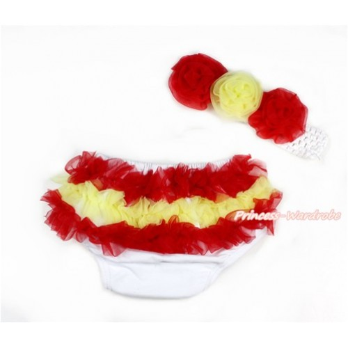 Red Yellow Spain Ruffles World Cup Panties Bloomers & White Headband Red Yellow Rose BA07