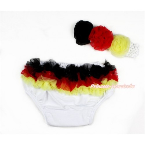 Germany Black Red Yellow Ruffles World Cup Panties Bloomers & White Headband Black Red Yellow Rose BA12