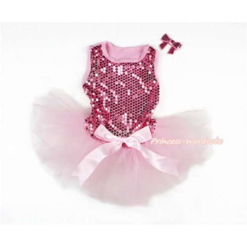 Sparkle Sequins Light Pink Sleeveless Light Pink Bow Gauze Skirt Pet Dress & Light Pink Sparkle Sequins Bow DC064