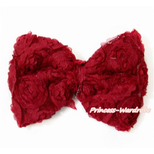 Raspberry Wine Red Romantic Rose Bow Hair Clip H798