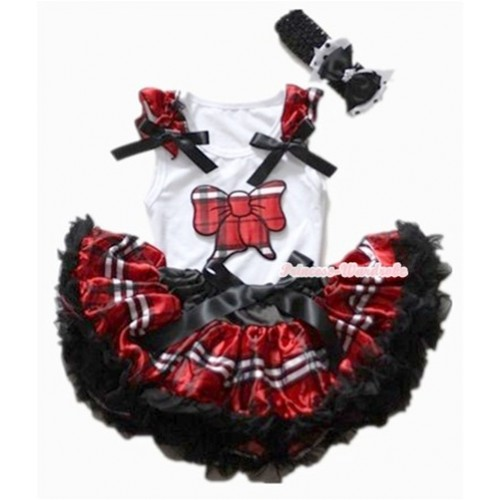 White Baby Pettitop with Red Black Checked Butterfly Print with Red Black Checked Ruffles &Black Bows & Red Black Checked Newborn Pettiskirt With Black Headband Black&White Black Polka Dots Ribbon Bow NG1127