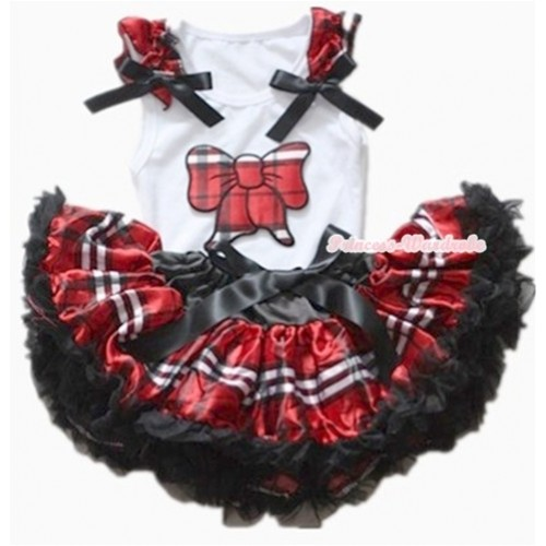White Baby Pettitop with Red Black Checked Butterfly Print with Red Black Checked Ruffles & Black Bows with Red Black Checked Newborn Pettiskirt NN41