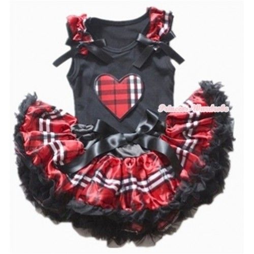 Black Baby Pettitop with Red Black Checked Heart Print with Red Black Checked Ruffles & Black Bows with Red Black Checked Newborn Pettiskirt NG1128
