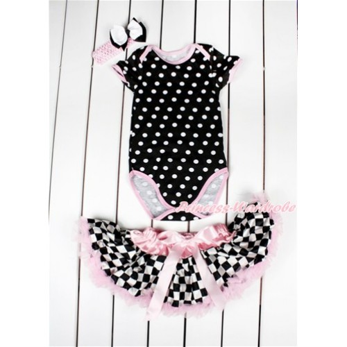 Black White Polka Dots Baby Jumpsuit with Light Pink Black White Checked Newborn Pettiskirt & Light Pink Headband White Black Ribbon Bow JN03