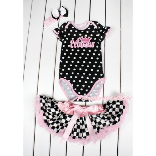 Black White Polka Dots Baby Jumpsuit with Princess Print with Light Pink Black White Checked Newborn Pettiskirt With Light Pink Headband White Black Ribbon Bow JN06