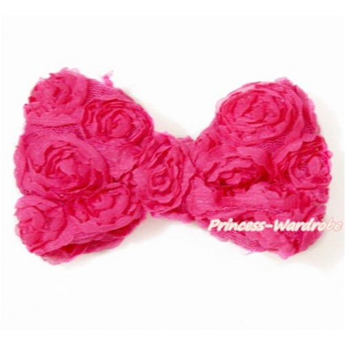 Hot Pink Romantic Rose Bow Hair Clip H512