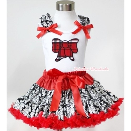 White Tank Top with Red Black Checked Butterfly Print with Damask Ruffles & Red Bow& Red Damask Pettiskirt MG352