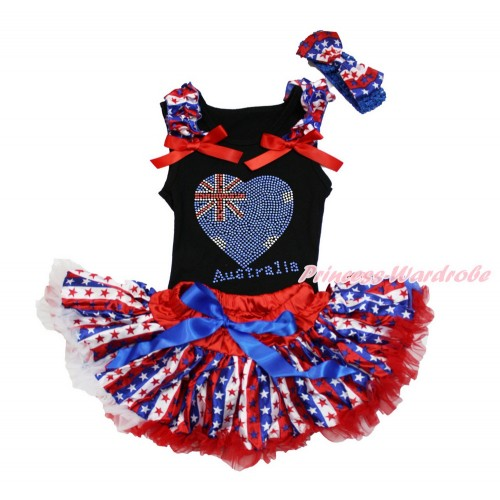 Black Baby Pettitop with Red White Blue Striped Star Ruffles & Red Bows with Sparkle Bling Rhinestone Australia Heart Print & Red White Blue Striped Star Newborn Pettiskirt &Royal Blue Headband Red White Blue Striped Star Satin Bow NG1495
