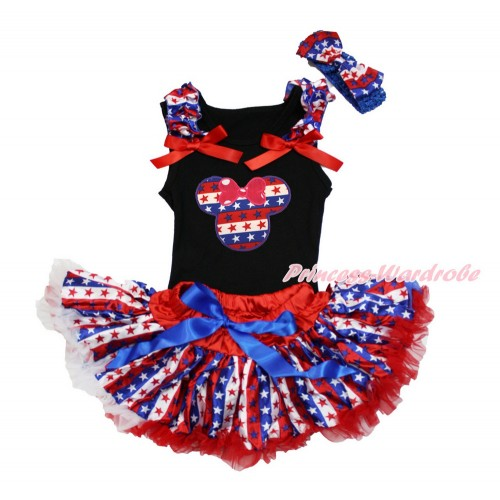 American's Birthday Black Baby Pettitop with Red White Blue Striped Star Ruffles & Red Bows with Red White Blue Striped Star Minnie & Red White Blue Striped Star Newborn Pettiskirt & Blue Headband Red White Blue Striped Star Satin Bow NG1499