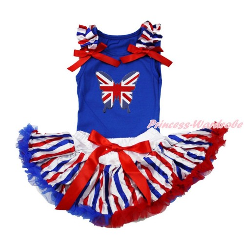 American's Birthday Royal Blue Baby Pettitop with Red White Royal Blue Striped Ruffles & Red Bows with Patriotic British Butterfly Print with Red White Royal Blue Striped Newborn Pettiskirt NG1502
