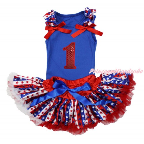 American's Birthday Royal Blue Baby Pettitop with Red White Blue Striped Star Ruffles & Red Bows with 1st Sparkle Red Birthday Number Print with Red White Blue Striped Star Newborn Pettiskirt NG1510