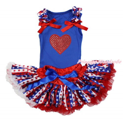 American's Birthday Royal Blue Baby Pettitop with Red White Blue Striped Star Ruffles & Red Bows with Sparkle Red Heart Print with Red White Blue Striped Star Newborn Pettiskirt NG1511