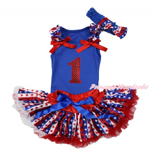 American's Birthday Royal Blue Baby Pettitop with Red White Blue Striped Star Ruffles & Red Bows with 1st Sparkle Red Birthday Number & Red White Blue Striped Star Newborn Pettiskirt & Blue Headband Red White Blue Striped Star Satin Bow NG1523