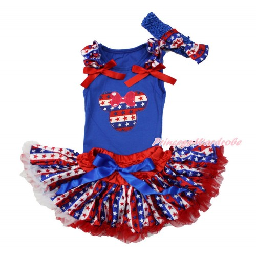 American's Birthday Blue Baby Pettitop with Red White Blue Striped Star Ruffle & Red Bow with Red White Blue Striped Star Minnie & Red White Blue Striped Star Newborn Pettiskirt & Blue Headband Red White Blue Striped Star Satin Bow NG1525