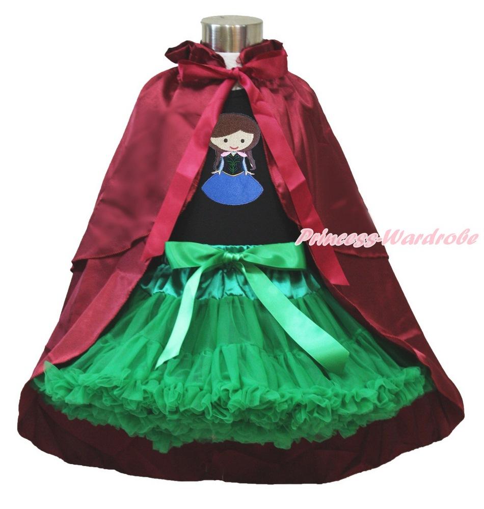Princess Anna Print Black Top Royal Blue Pettiskirt /& Wine Red Costume Cape 1-8Y