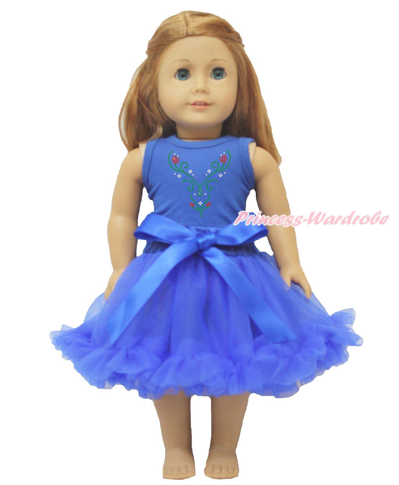 "Rhinestone Princess Print Top Pink Rose Pettiskirt 18/"" American Doll Outfit Set"