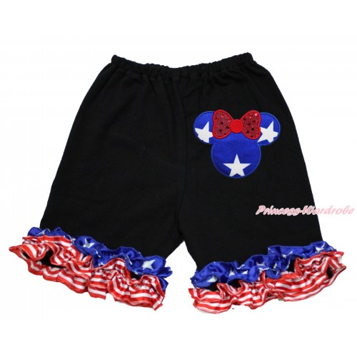 American's Birthday Black Cotton Short Pantie With Patriotic American Ruffles With Patriotic American Star Minnie Print B082