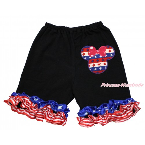 American's Birthday Black Cotton Short Pantie With Patriotic American Ruffles With Red White Blue Striped Star Minnie Print B083