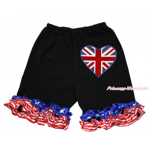American's Birthday Black Cotton Short Pantie With Patriotic American Ruffles With Patriotic British Heart Print B086