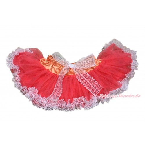 Coral Tangerine With Lace New Born Pettiskirt N224