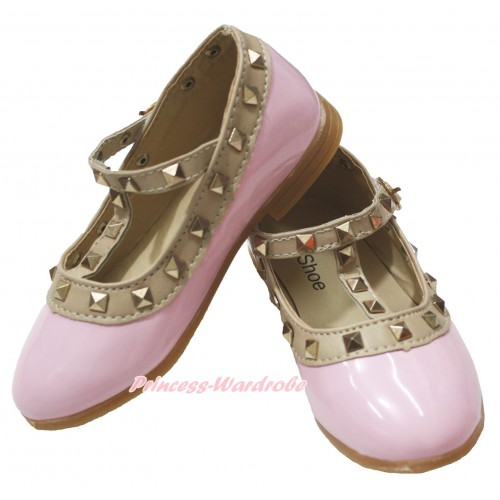 Light Pink Enamel T Strap Stud Rivet Slip On Shoes 8816LightPink