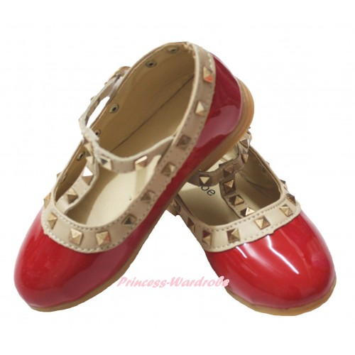 Hot Red Enamel T Strap Stud Rivet Slip On Shoes 8816Red